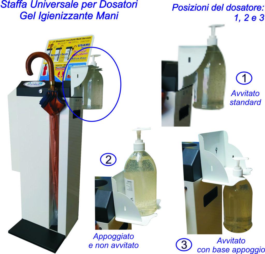 Staffa Universale per Dosatori Gel Igienizzante Mani Optional complementare per Dispenser /  Piantana / Totem / Distributore / Colonna  Aqua No Problem